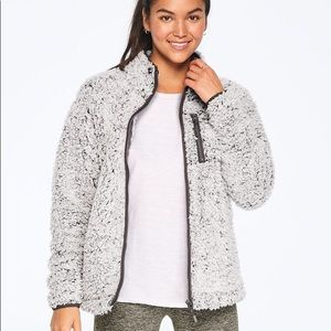 NEW💕VS PINK GREY FROSTED SHERPA FULL-ZIP JACKET